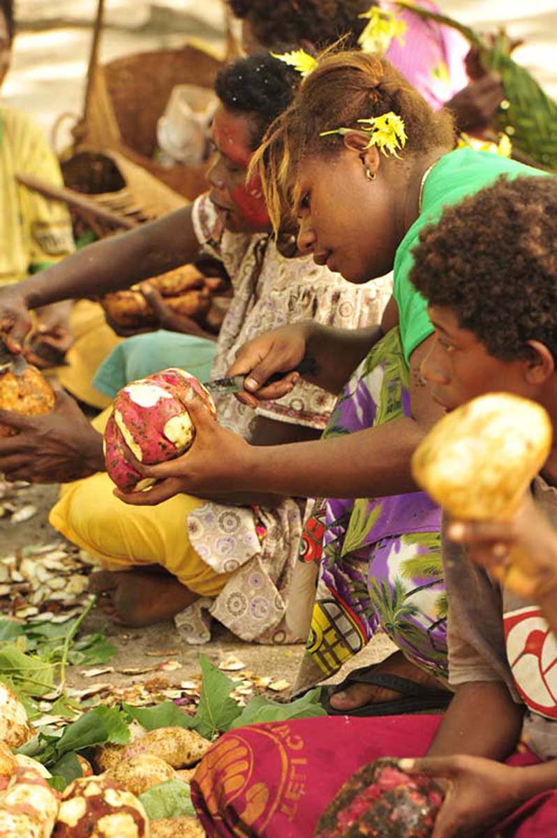 Women from Ward 13 Masahet Island prepare a traditional mumu of pigs and food for the launch ceremony.